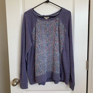 Lucky Brand Purple Ikat Designed Long Sleeve
